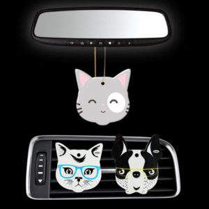 3-in-1 air fresheners, car vent clips, hanging or keychains
